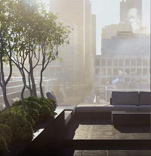 3D animation for skyscraper terrace