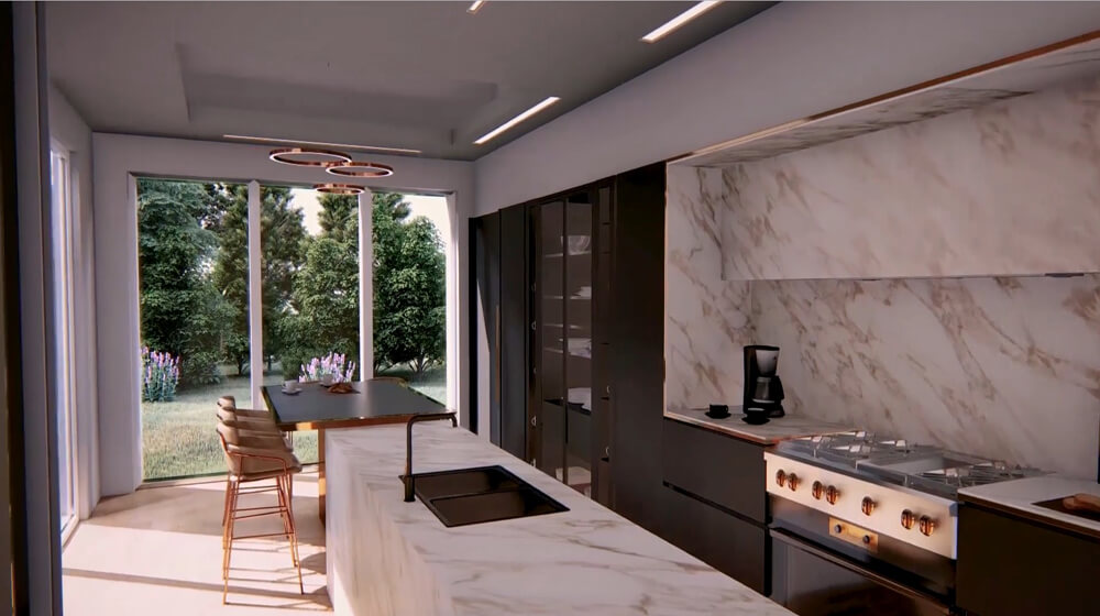 Architecture Animation Video Caption Of Modern Kitchen Walkthrough