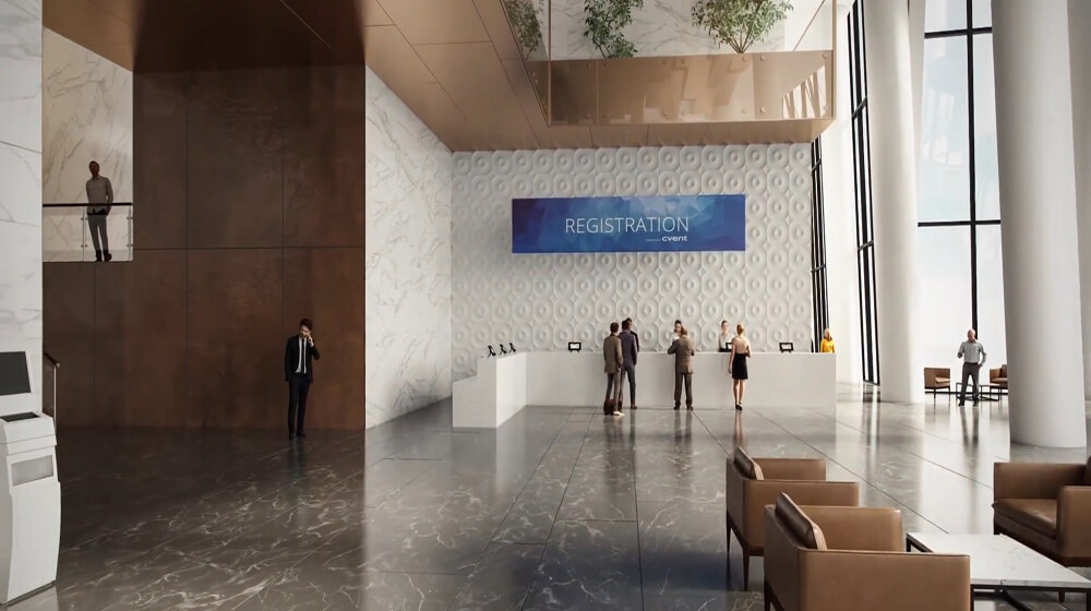 Architecture Animation Video Caption Of A Hotel Lobby Livestyle