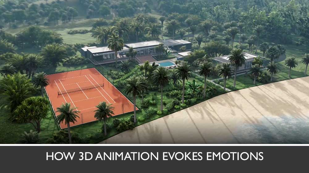 3D Walkthrough Of a Hotel With a Tennis Court