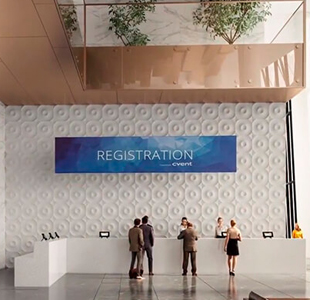 3D Architectural Animation Of A Sleek Reception Area