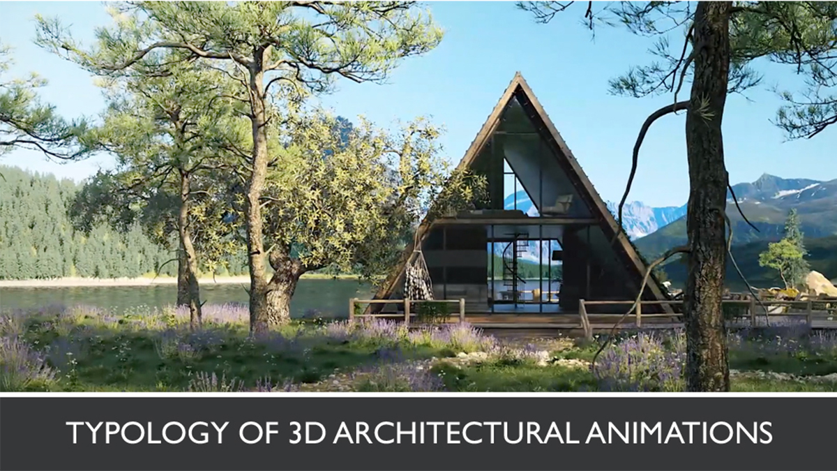3D Video Showing a Wooden House in the Forest