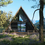 3D Video Showing a House in Nature