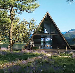 CG Video Showing a Wooden House in Natural Scenery