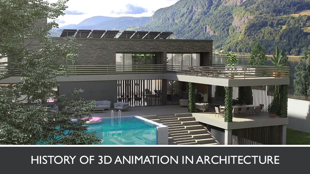 3D Exterior Animation Of A Lakeside Mansion