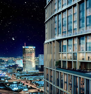 3D Exterior Animation Of A Skyscraper At Nighttime