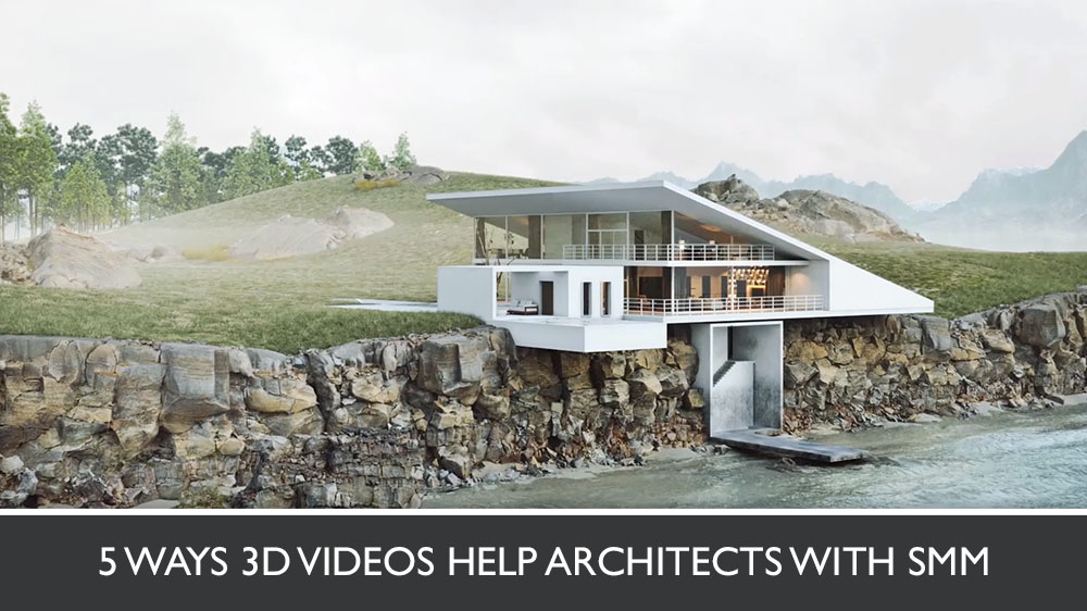 3D Architecture Video of a White Cottage on a Coast
