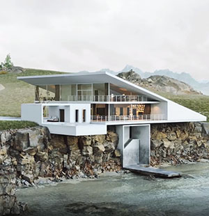 3D Animation of a Modern Cottage on a Coast