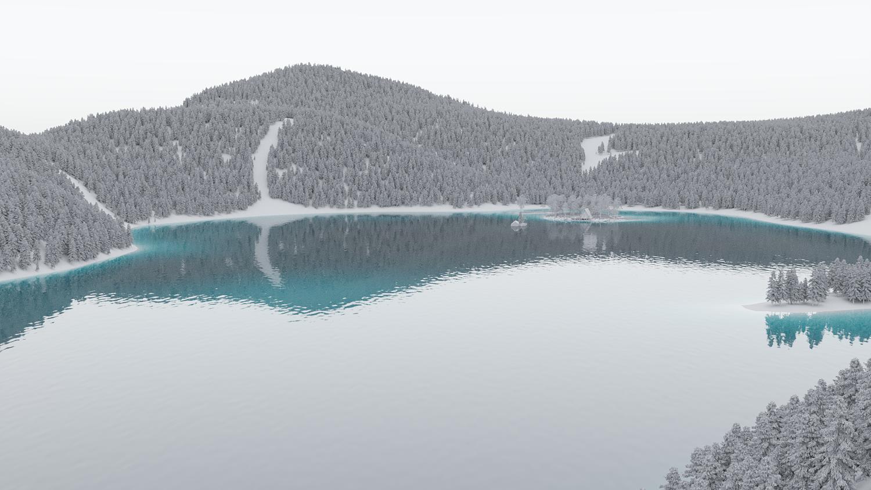 Raw 3D Render of a Rural Lake